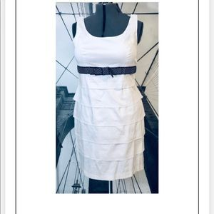 JULIAN TAYLOR WHITE LAYERED DRESS POLKA DOT BELT